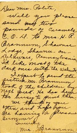 Postcard from Mrs. Brannum requesting caramels