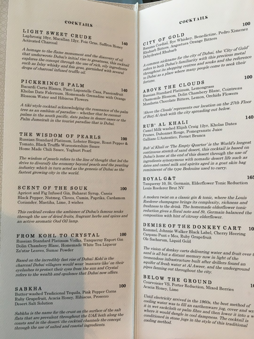 Cocktail menu for Gold on 27