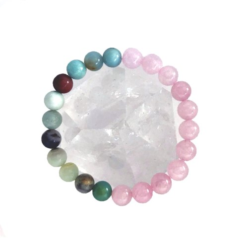8mm Amazonite Rose Quartz Bracelet