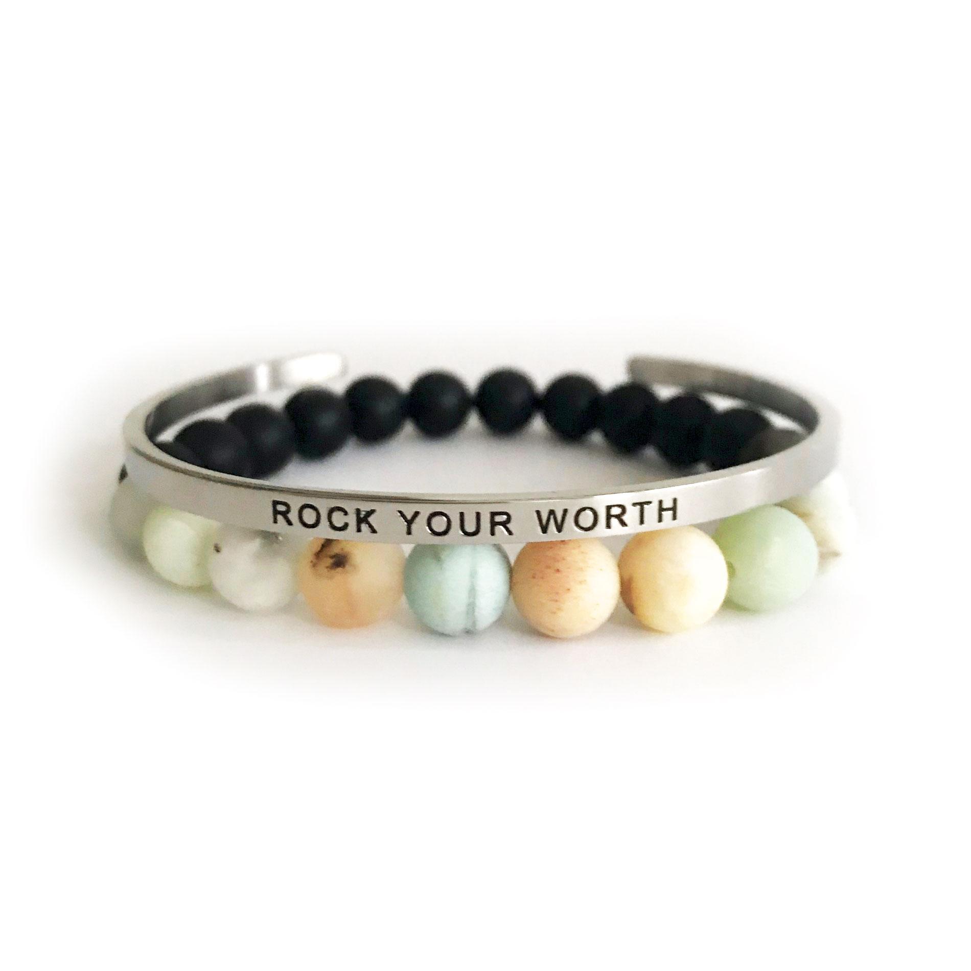 Rock Your Worth 8mm Amazonite & Onyx