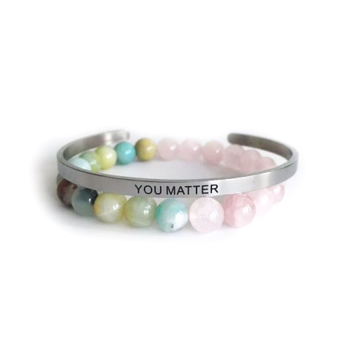 8mm Shiny Amazonite & Rose Quartz Bracelet