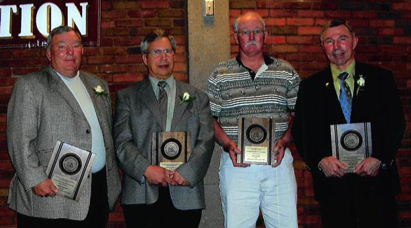 Lifetime Achievement Coaches (L-R): Russ Holland, Steve Techam, Gary Baker, and Bob Dettmer. Not present: Ed Kane and Jeff Gallagher.