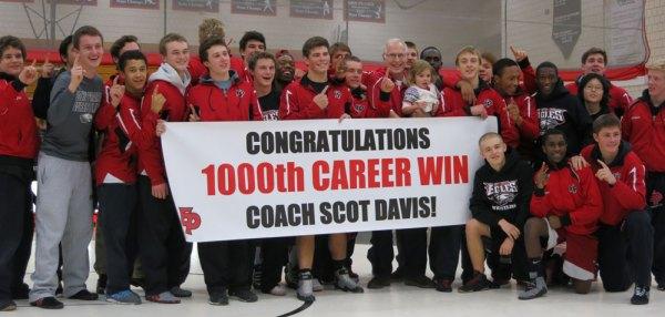 Coach Scot Davis with the Eden Prairie wrestling team. Photo by Jeff Beshey.