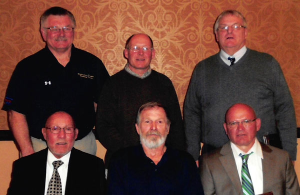 2013 Mayo Civic Center Region I Wrestling Hall of Fame Inductees. Front (L-R): Frank Murphy, Dennis Rice (representing Steve Rice), and Rick Clark. Back (L-R): Chuck Siefert, Gary Heydt, and Reggie Sikkink.