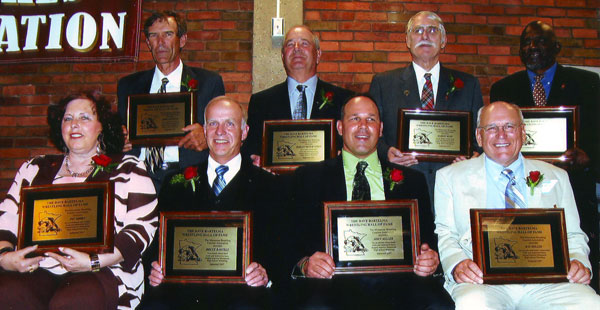 2007 MWCA Bartelma Hall of Fame Inductees. Front (L-R): Pat Short, Bruce Bartels, John Miller, and Ray Miller. Back (L-R): John Panning, Butch Steen, Al Russ, and Jim Tanniehill. Photo Spencer Yohe