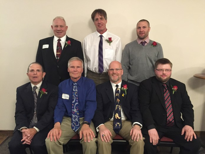 """2016 Dave Bartelma Hall of Fame inductees. Front (L-R): Paul Cyr, Lyle Freudenberg, Paul Vaith, and Eric Sanders. Back (L-R): Al """"Swede"""" Olsen, Joel Viss, and Brad Pike. Not pictured: the late Tom Keating."""