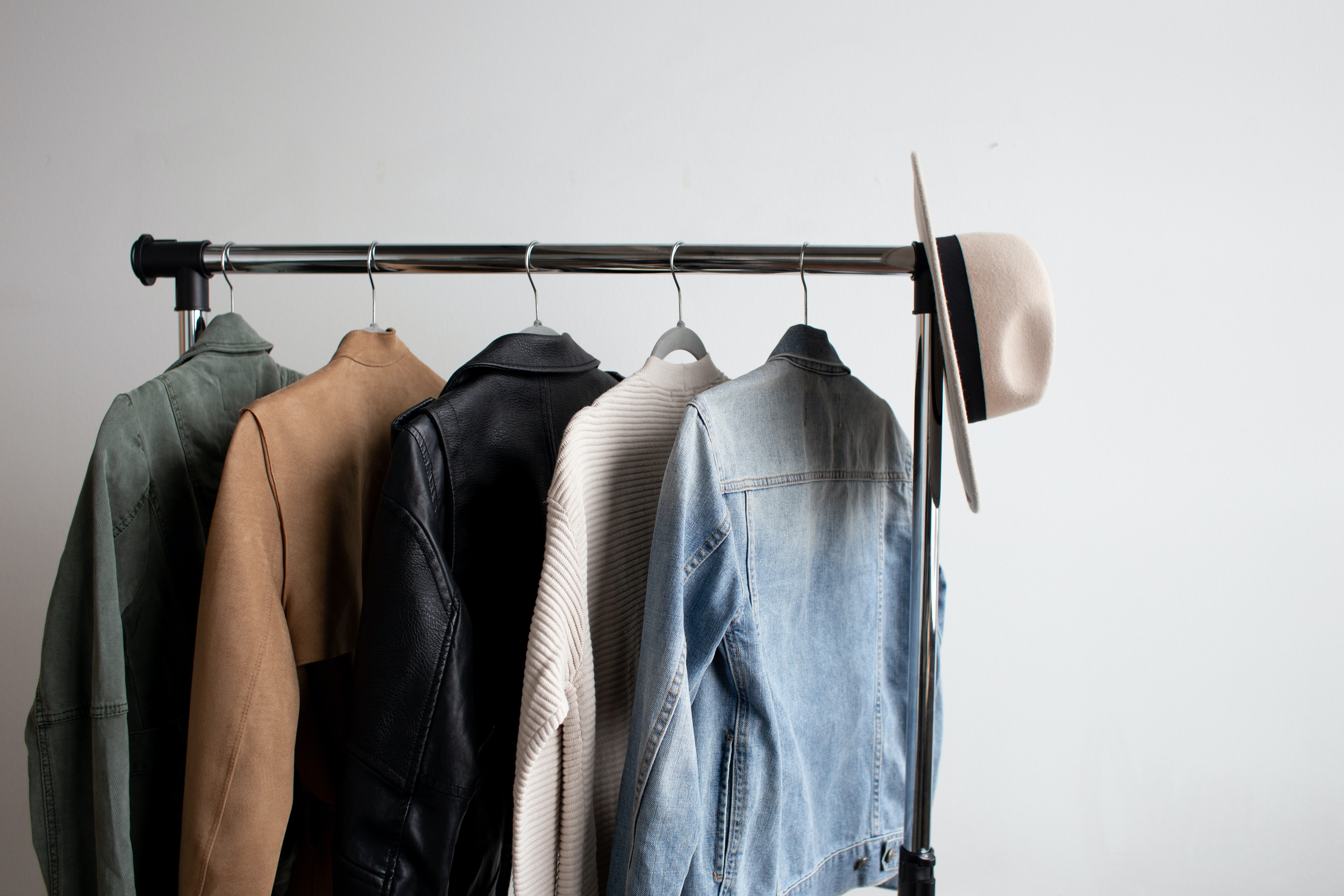 jackets hanging on a rack