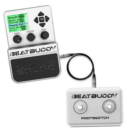 BeatBuddy drum machine pedal with external footswitch