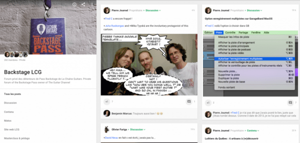 Google+ private community for the Backstage Pass owner on The Guitar Channel