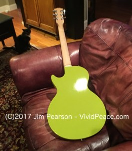 The Gibson M2 in Citron Green: long back guitar view. Photograph by VividPeace.com