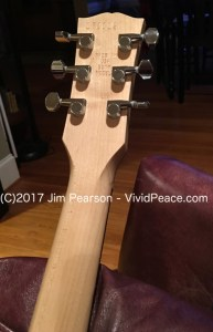 The Gibson M2 headstock and tunders back view. Photograph by VividPeace.com
