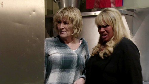 Sharon and Shirley from EastEnders looking disgusted