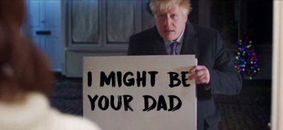 Boris holding up a sign like Andrew Lincoln did in Love Actually
