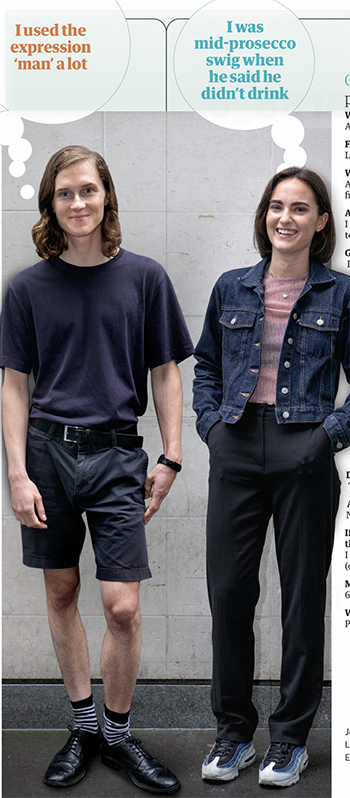 Johnny and Gen full length – he is quite skinny, has long hair and is wearing a T-shirt and shorts. She is wearing a denim jacket and trousers