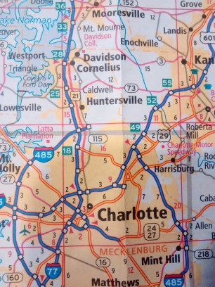 Our route leaving Charlotte, North Carolina.