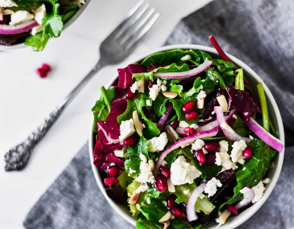 Pomegranate and Feta Winter Salad by foodbornewellness.com