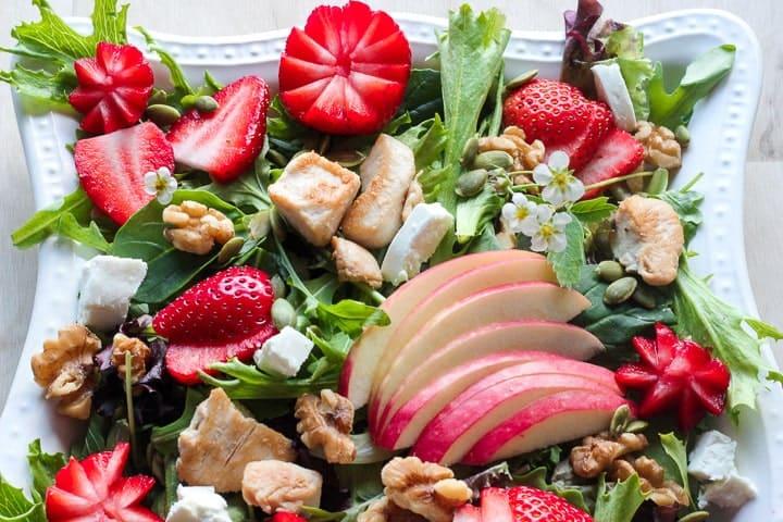 Strawberry Chicken Salad with Creamy Maple Dressing by deliciousonadime.com