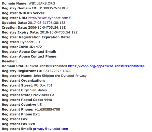 A Screenshot of WikiLeaks (wikileaks.org) Domain WHOIS information being updated.