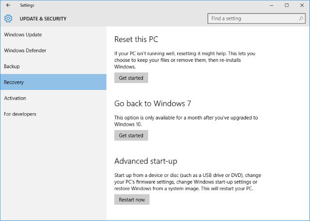 Downgrade Windows 10