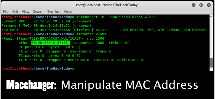 Macchanger - Manipulate MAC Address of Your Kali Linux