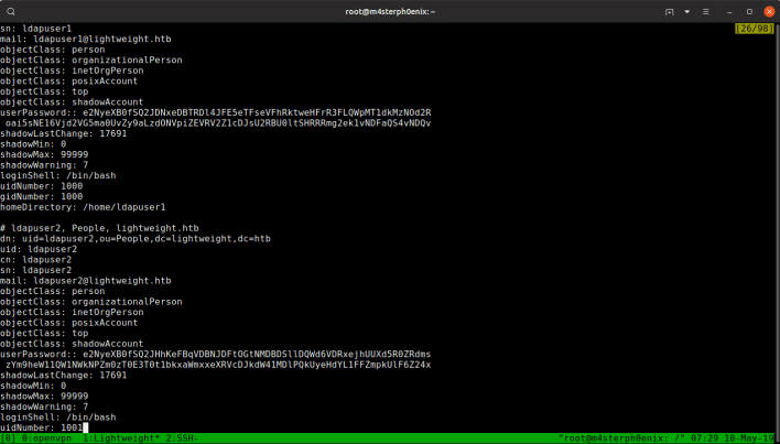 ldapsearch -h 10.10.10.119 -p 389 -x -b dc=lightweight,dc=htb