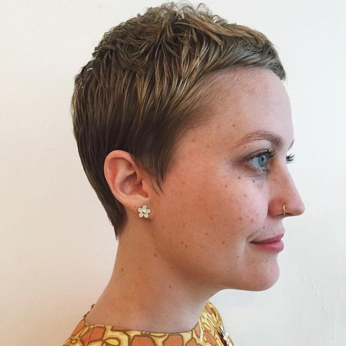 White Short Pixie with Dark Roots