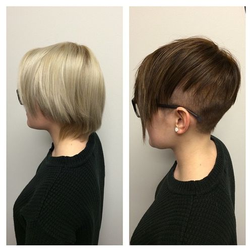 White and Black Pixie with Shaved Nape and Temples