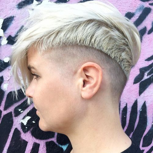 White Pixie with Shaved One Temple