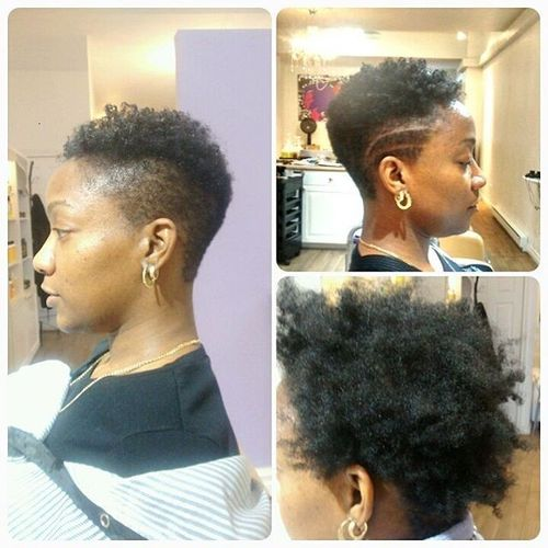 black curly mohawk with lines patterns