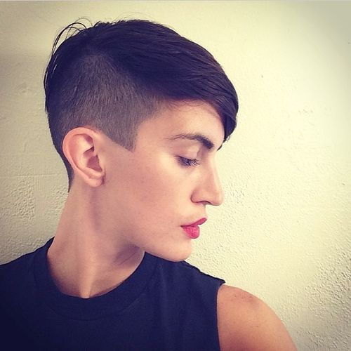 Orderly Black Pixie with Shaved One Side