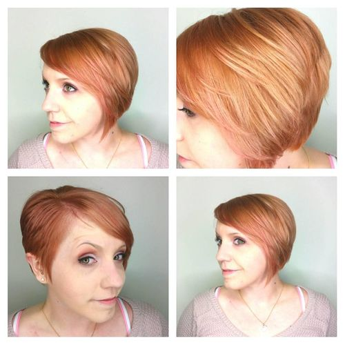 orange-red bob parted