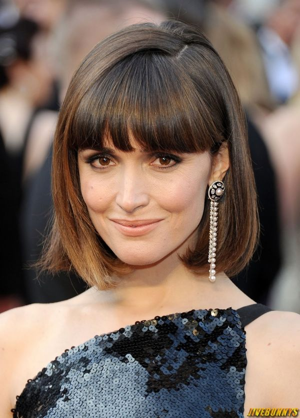 Short Length Hairstyles with Blunt Bangs 2