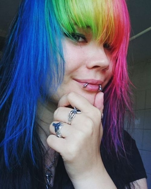 Rainbow emo hairstyles for girls