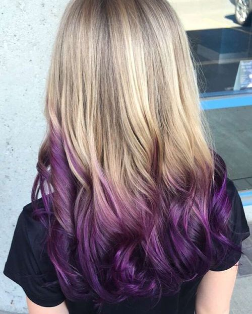 Light hair with purple ombre for long hair