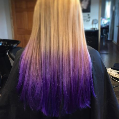 Great light hair with purple ombre for long hair