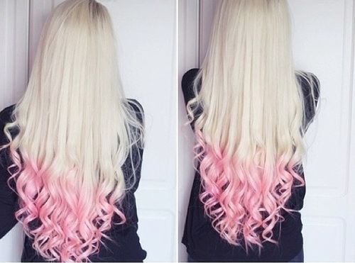 Long hair with pink ombre