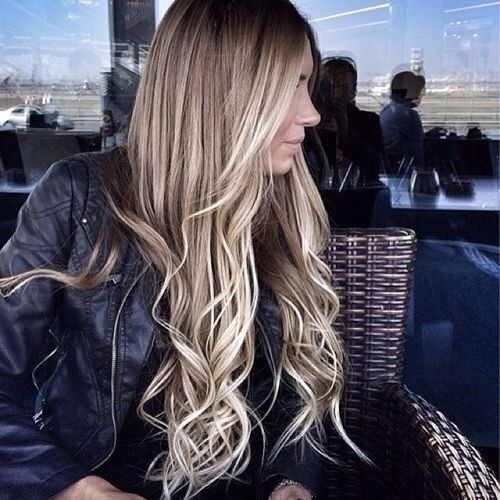Jolly light hair with blonde ombre for long hair