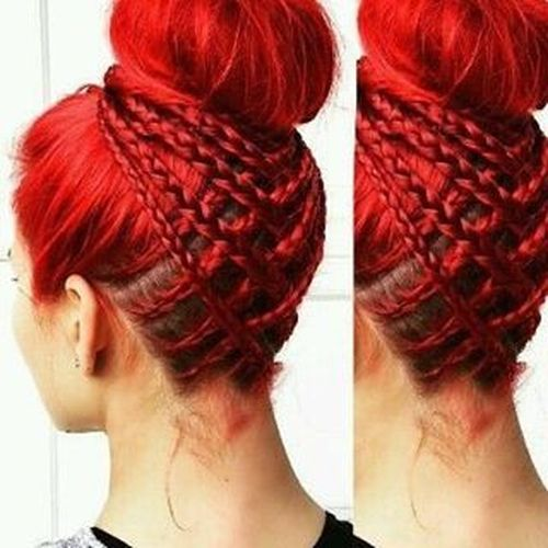 Red bun with braids