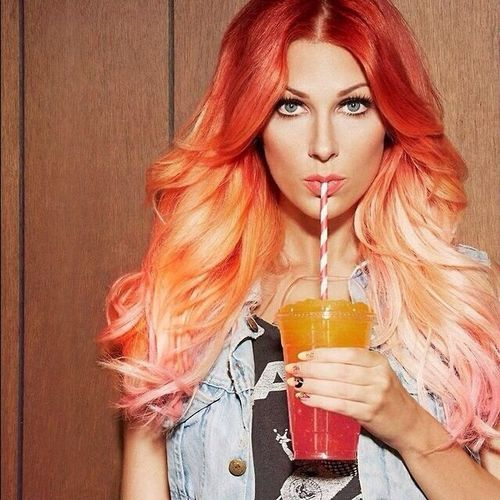 Captivating red hair with ombre for long hair