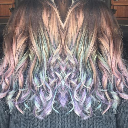 Adorable dark hair with rainbow ombre for long hair