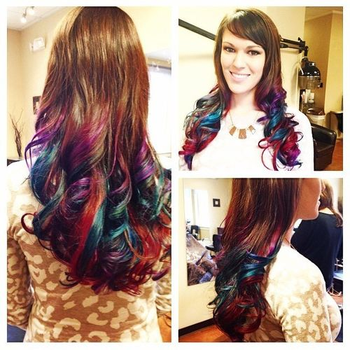 Attractive dark hair with rainbow ombre for long hair