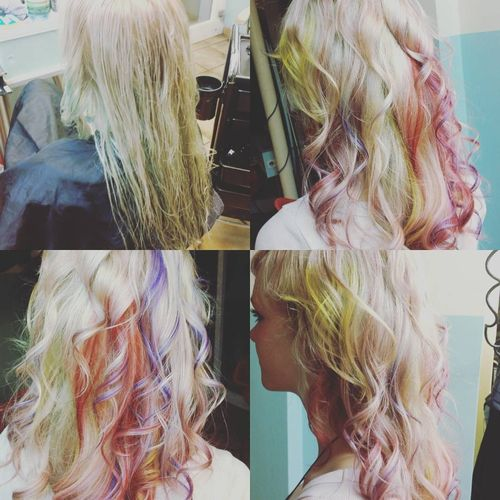 Light hair with dull rainbow ombre for long hair