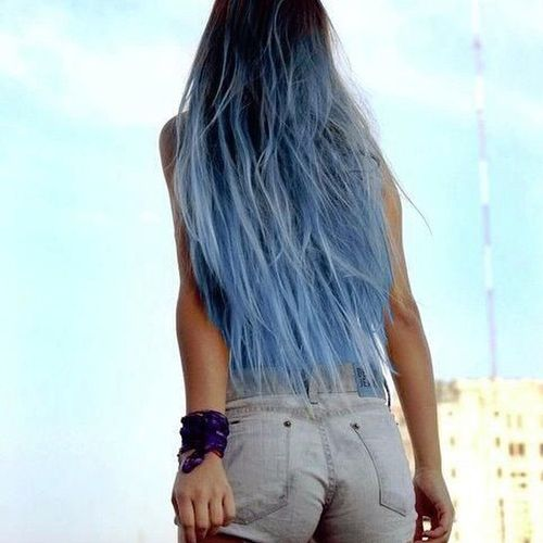 Dark to blue hair with blue ombre for long hair