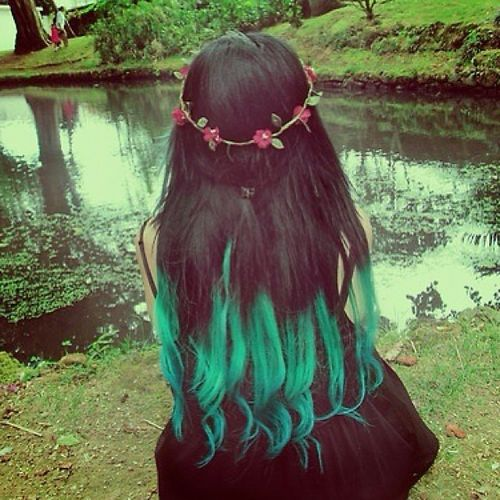 Dark hair with turquoise ombre for long hair