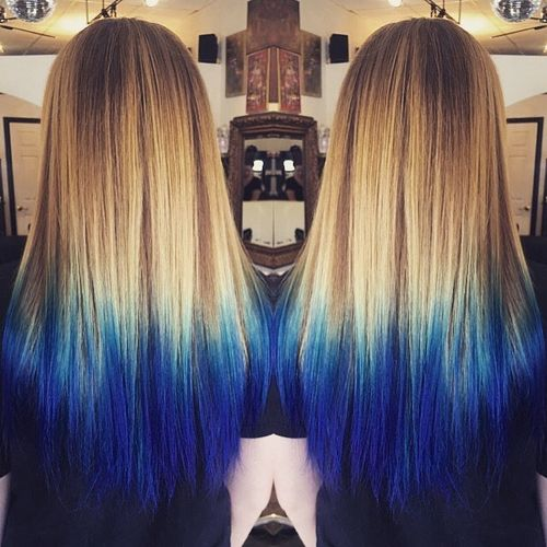 Soft light hair with blue ombre for long hair