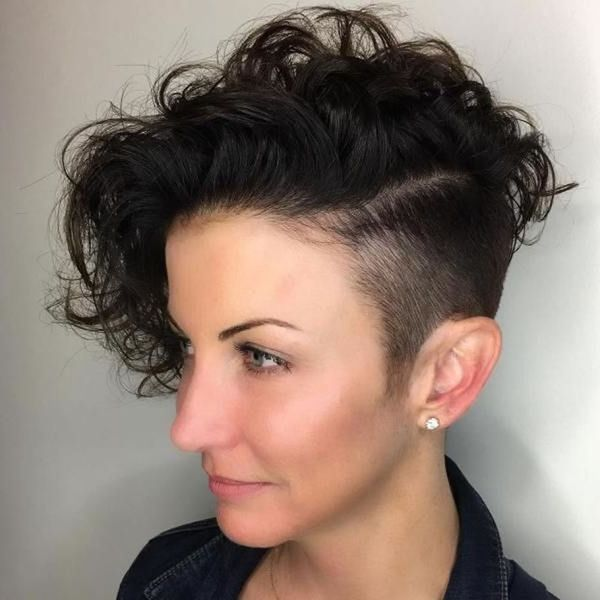 Ideas of undercut on curly hair for females
