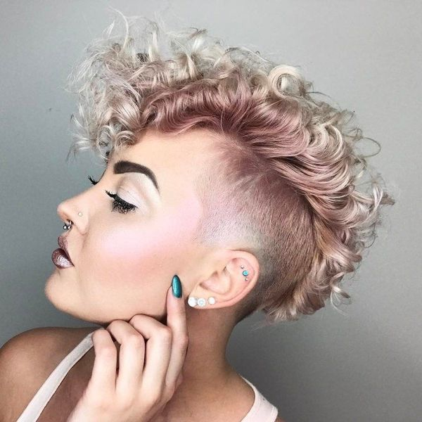 Ideas of undercut on curly hair for females 2