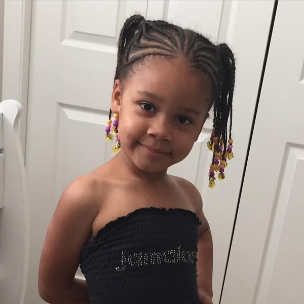 Funky Cornrows with Crochet Pigtails for Little Girl