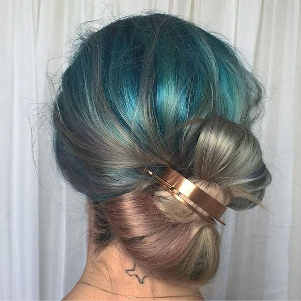 Messy & Colorful Bow Updo
