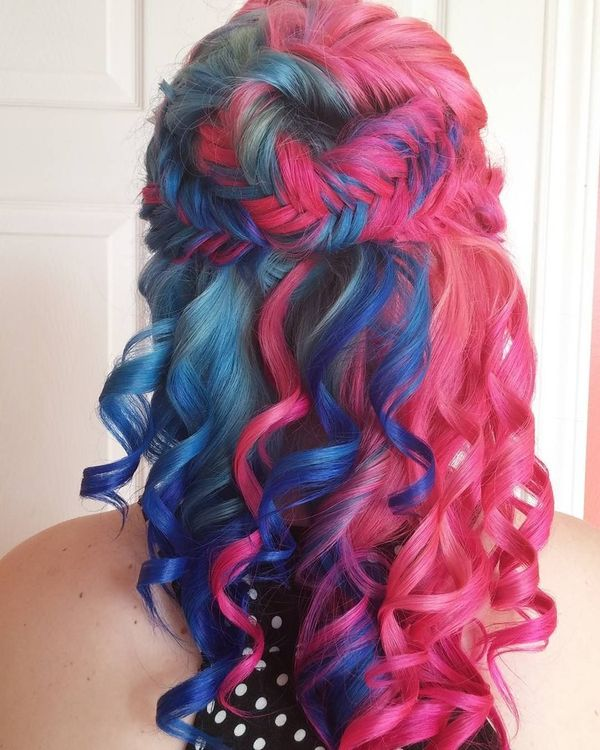 Pink and blue fishtail braids